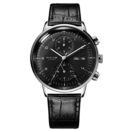 - Men's Wrist Watches Bauhaus Automatic Watch Stainless Steel Leather Strap Mechanical Watch Luxury Dress Watches for Men with Date Week -42mm Case (Black-2)