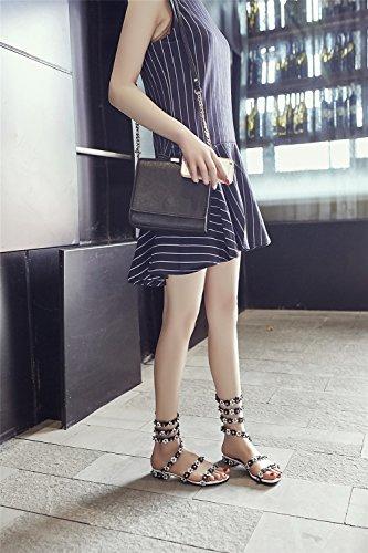 para Un Summer Fiesta Roman Sandalias Noche Flor y Ladies Sandal el Winding Mujer Heel New Casual Shoes Zapatos Sweet Vestido Flat de t41wpq6
