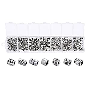 Beadthoven 1Box 260pcs/box Tibetan Style Alloy Bead Spacers Large Hole, Mixed Style, Column, Antique Silver