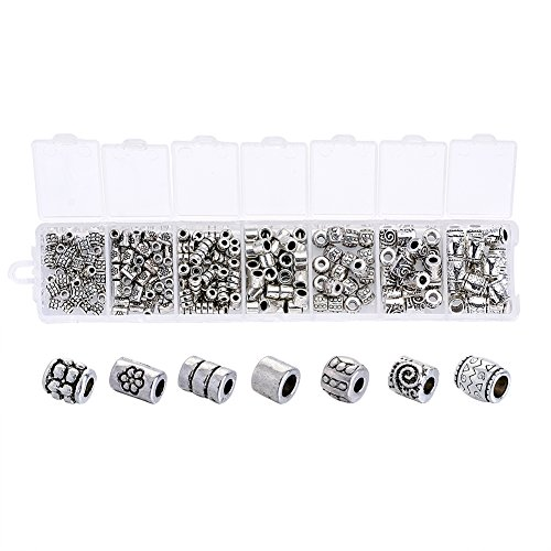 Beadthoven 260pcs/Box Tibetan Style Alloy Column Bead Spacers 7Style Large Hole Beads Spacer for Making Breaclets Necklaces Antique Silver Color