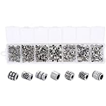 Beadthoven 1Box 260pcs/box Tibetan Style Alloy Column Bead Spacers 7Style Large Hole Beads Spacer for Making Breaclets Necklaces Antique Silver Color