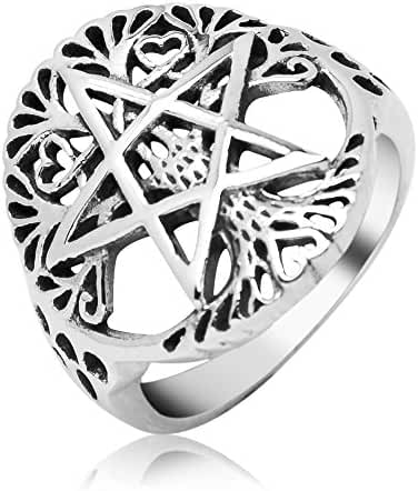 Sterling Silver Filigree Pentagram Pentacle Star Ancient Tree of life Symbol Round Band Ring 7
