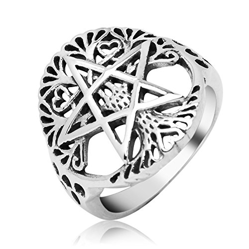 - Sterling Silver Filigree Pentagram Pentacle Star Ancient Tree of life Symbol Round Band Ring 7