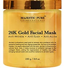 24K Gold Facial Mask from Majestic Pure, 8.8 Oz - Ancient Gold Face Mask Formula Reduces the Appearances of Wrinkles and Fine Lines, Helps with Acne and Firming Up Skin