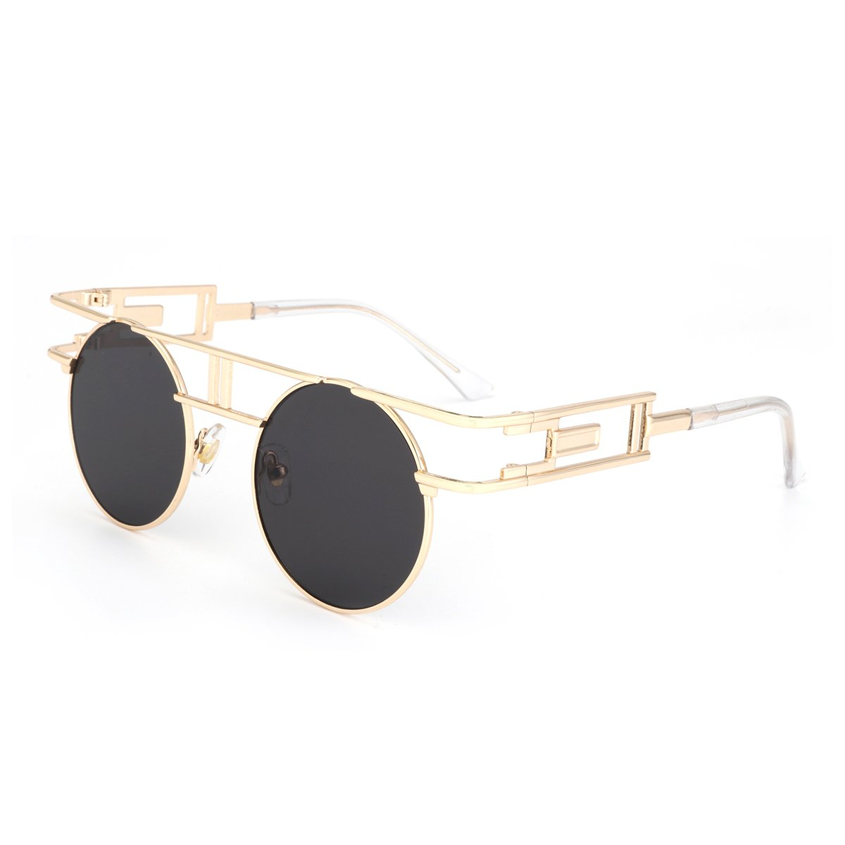 a71b08378 Amazon.com: ROYAL GIRL Gothic Steampunk Sunglasses Women Men Round Metal  Circle Classic Retro Shades Gold Frame Black Lens: Clothing