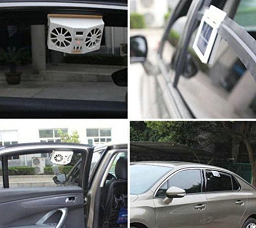 (Car Air Conditioner Fan,Solar Powered Car Window Air Vent Ventilator Mini Air Conditioner Cool Fan (Black))