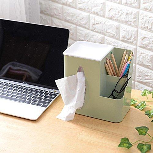 Tissue Box, Elevin(TM) Desktop Organizer Multifunction Remote Control Plastic Storage Box Tissue Box Case Cover (Light green)