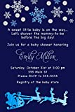 30 Invitations Christmas Santa Sleigh Baby Boy Shower Watercolor Blue Personalized Cards Photo Paper
