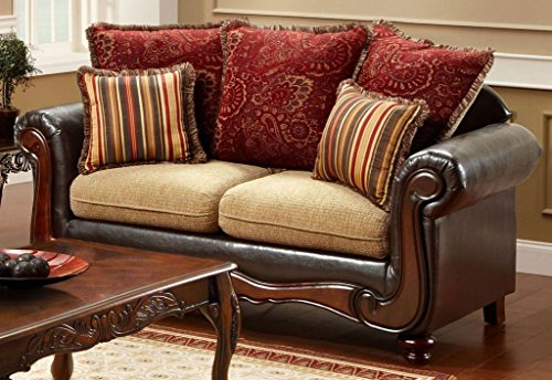 Banstead Love Seat with Pillows in Tan Espresso finish by Furniture of America