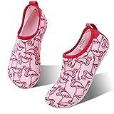 hiitave Kids Swim Water Shoes Non-Slip Quick Dry Barefoot Beach Aqua Pool Socks for Boys & Girls Toddler Pink/Flamingo 8.5-9 M US Toddler