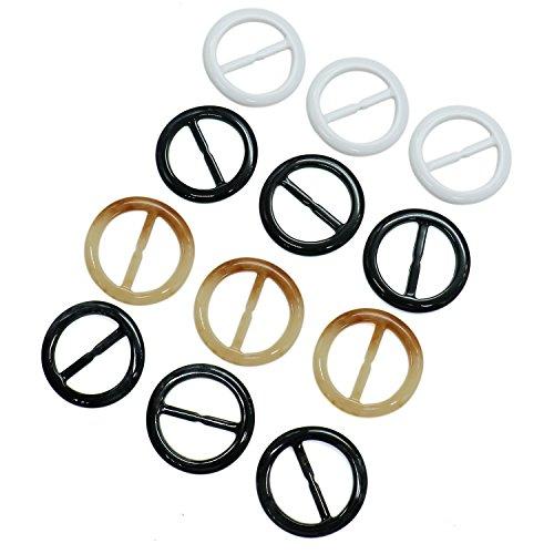 Buorsa 12PCS Plastic Round Shape Fashion Scarf Clip Ring Scarf Slides,2 inch ()