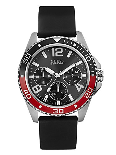 GUESS-Mens-Black-Red-and-Silver-Tone-Multifunction-Sport-Watch