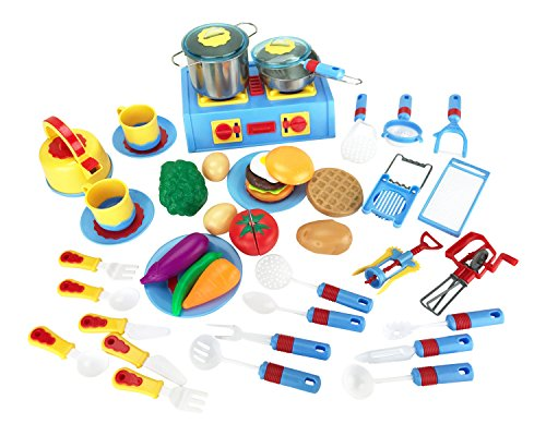 44 pieces mini stove kitchen appliance pretend play food for Mini kitchen set for kids