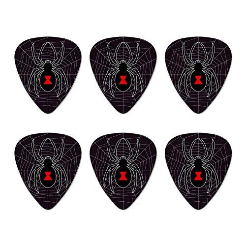 Black Widow Spider on Web Novelty Guitar Picks Medium Gauge - Set of 6