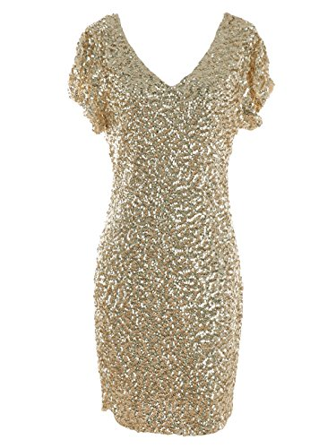 Anna-Kaci Womens Sexy Short Sleeve Sequin Bodycon Mini Cocktail Party Club Dress, Champagne, X-Large