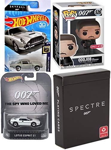 Funko Villain James Bond Figure & Cars 007 Vinyl Goldfinger Odd-Job Pop Character Bundled with Lotus S1 Retro Entertainment + Skyfall Aston Martin Die-Cast vehicle collectibles & Spectre Cards 4 items (Esprit Submarine Lotus)