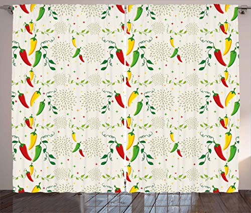 Bedroom Mexican Furniture (Lunarable Vegetables Curtains, Gourmand Peppers on Swirl Branches Mexican Food Hot Sauce Image, Living Room Bedroom Window Drapes 2 Panel Set, 108 W X 63 L Inches, Fern Green Red Yellow Cream)