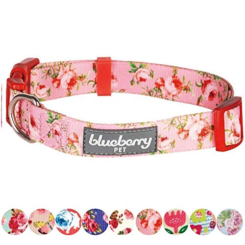 "Blueberry Pet 8 Patterns Spring Scent Inspired Floral Rose Baby Pink Dog Collar, X-Small, Neck 7.5""-10"", Adjustable Collars for Dogs"