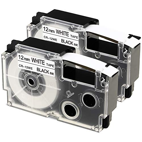 2-Pack Compatible Casio XR-12WE 1/2 inch Label Tape Cartridges for Use with Casio KL120 KL60 KL7200 KL-100 KL7000 KL-750B Label Makers and More, Black on White, 1/2'' (12mm) x 26.2' ()