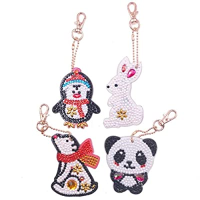 Diamond Painting Keychain Kit for Kids and Adults, DIY Full Drill Diamond Painting Art Crafts Cartoon Animals 4 Pack