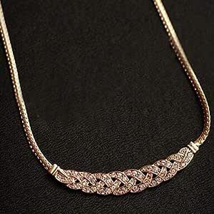Jewelry Metal Intertwined Rhinestones Snake Chain Elegant Necklaces & Pendants For Women