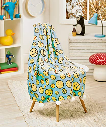posh home 50x60 (Teal) Pompom Velvet Emoji Fleece Plush Throw, Super Soft Large Oversized Cozy Lightweight Blanket for Toddlers Kids Teens and Young Adult