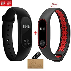 Xiaomi Mi Band 2 With A Strap Bluetooth 4.0 Mi Band 2 Wristband Bracelet With Oled Display Water-resistant Smart Heart Rate Fitness Tracker (Black & Red)