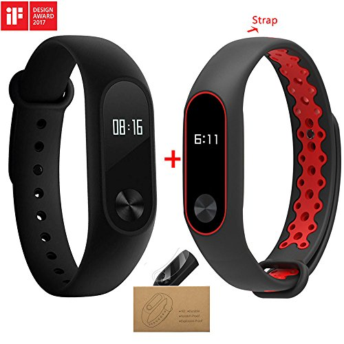 Xiaomi Mi Band 2 With a Strap Bluetooth 4.0 Xiaomi Mi Band 2 Wristband Bracelet With OLED Display Water-resistant Smart Heart Rate Fitness Tracker (black and red) (2 Movement)