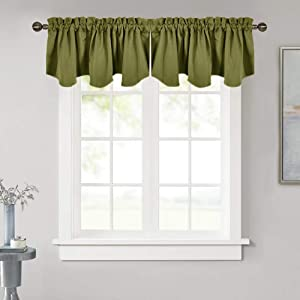 NICETOWN Window Dressing Blackout Curtain - 52 inches by 18 inches Thermal Insulated Scalloped Rod Pocket Valance for Boy Bedroom/Living Room/Kitchen/Christmas Window, Olive, 1 Panel