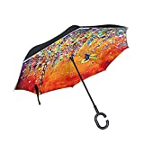 Bingo Point Colorful Hummingbird Reverse Umbrella Double Layer Inverted Parasol Rain Women Strong Windproof Fluorescent Strips Paraguas Men doublelayerumbrella doublelayerinvertedumbrella
