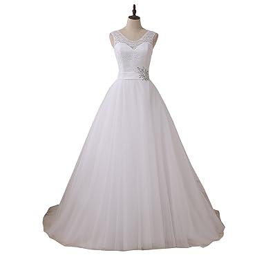 Yipeisha Scoop Lace Wedding Dress With Beads A Line Princess Bridal