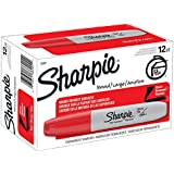 Sharpie Permanent Markers, Chisel Tip, Red, Box of 12