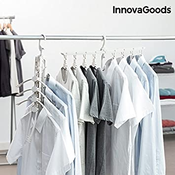 GKA 8in1 Organizer Mehrfach Kleiderbügel platzsparend Horizontal Vertikal  Wendbar Faltbar Mehr Platz im Schrank 8 Kleiderbügel