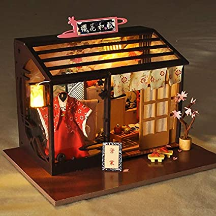DIY Handcraft Miniature World Travel Dolls House Cherry Blossom Country Cottage