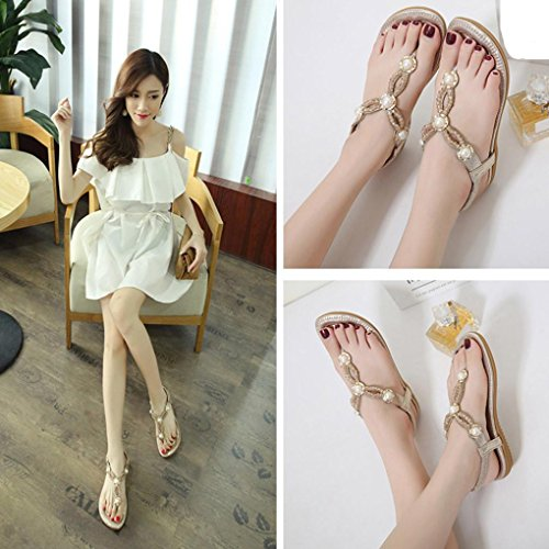 Longra 2018 Women's Summer Sandals,Spring Ladies Leather Look Fashion Diamante Bead Peep-Toe Outdoor Shoes Gold