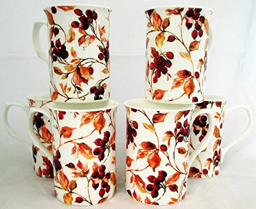 Berries Mugs Set of 6 Fine Bone China Berries Mugs Hand Decorated in the UK Free UK Delivery