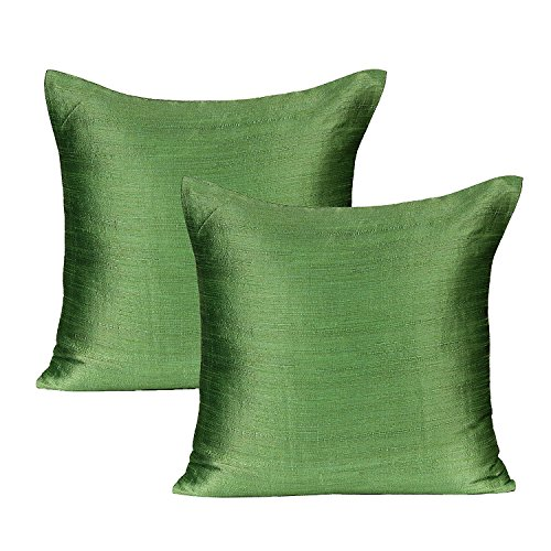 Light Green Throw Pillows (Set of 2 Covers, Faux Raw Silk, Light Green, 12X12 (Green Silk Pillow)