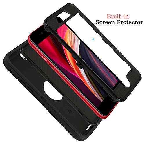 smartelf Case for iPhone SE 2020 Heavy Duty With Built-in Screen Protector Shockproof 3 in1 Full Body Cover Hard Shell For Apple iPhone SE 2 4.7
