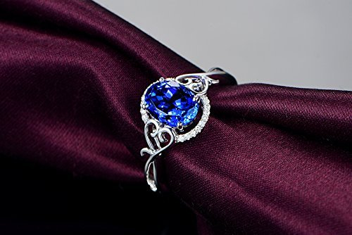 2.03 Ct Oval Diamond (Solid 18k white gold promise ring,0.09ct SI-H Diamond Engagement ring,oval 2.03ct Natural Tanzanite,pave)