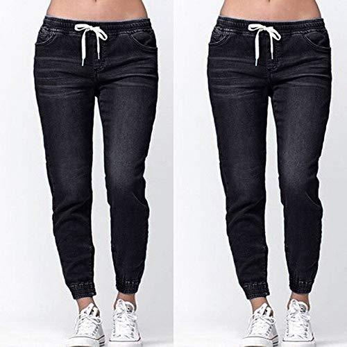 Drawstring Otoño Fresco nbsp;mujeres Plus Casual Elegante Denim Moda Jeans Vaqueros Recortados Negro Flojo Tendencia Elastic Npradla tIx6vHqwg