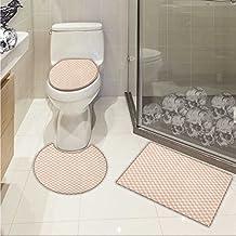 Geometric 3 Piece Large Contour Mat Set Pale Salmon Colored Chess Table Like Modern Pink Color Squares Artwork Print 3D Digital Printing Rug Set Peach Cream