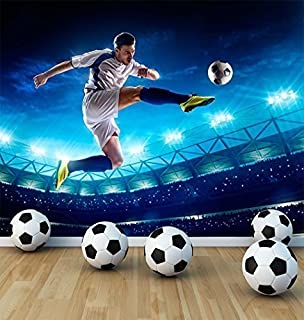 Football Soccer Player Wall Mural Photo Wallpaper Boys Kids Bedroom Playroom Stadium Large 1500mm