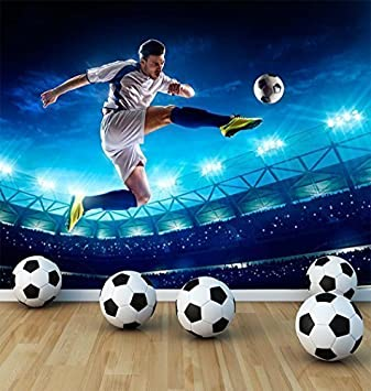 . Football Soccer Player Wall Mural Photo Wallpaper Boys Kids Bedroom  Playroom Football Stadium  Large 1500mm x 1150mm