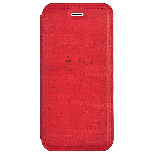 Mobile protection Caja de cuero de costura de grano de madera de estilo retro con soporte para iPhone 6 y 6s ( Color : Brown ) Red