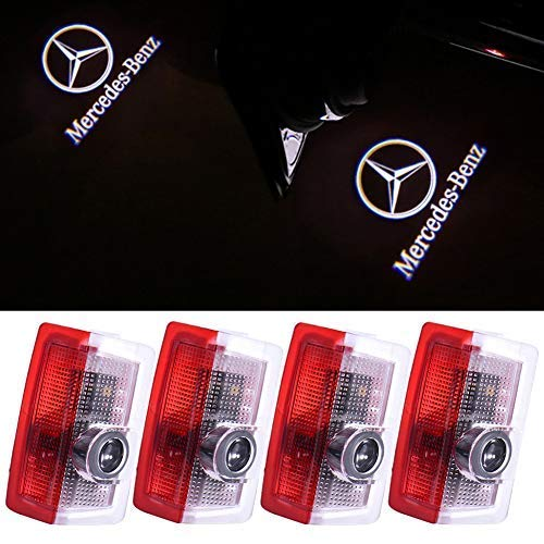Price comparison product image Mercedes Benz E-class Car Door LED Logo Light Projector Ghost Shadow Lights Welcome Lamp for Mercedes Benz E A C ML GL AMG 4MATIC ML300 ML350 Blue TEC Class w212 w166 w176 Series(4 Pack)