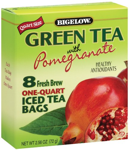 Bigelow Green Tea with Pomegranate Iced Tea, 8 Count, 2.56-Ounce Boxes (Pack of 6)