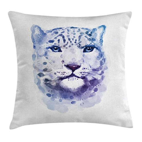 Wildcats Woven Polyester (Animal Throw Pillow Cushion Cover by Ambesonne, Big Wild Cats Themed Print Watercolor Style Leopard Illustration Jungle Wildlife, Decorative Square Accent Pillow Case, 18 X18 Inches, Violet White)