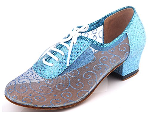 Womens Salsa Dance Blue Party QJ9005 Up Wedding Net UK Lace Modern Latin M 5 2 Shoes Tango Navy MINITOO Ballroom Evening CqZSw85xx