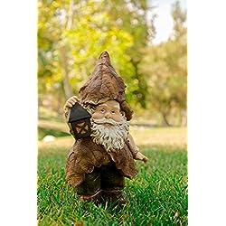 Alpine Rainforest Gnome with Lantern Garden Statue, 15 Inch Tall