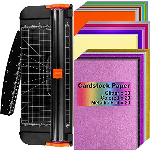 Cizalia corta papel premium +60 hojas A4 cartulin/metal/glit